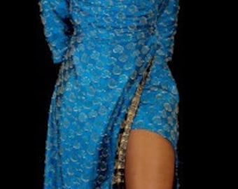 blue and gold wrap dress