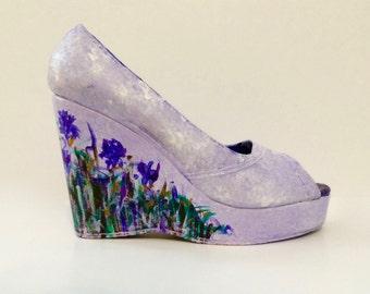 IMPRESSIONABLE - Custom, Hand-Painted Wedge Heels - Art a la carte