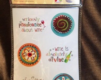 Cypress Stick-A-Round wine themed peel and stick decals