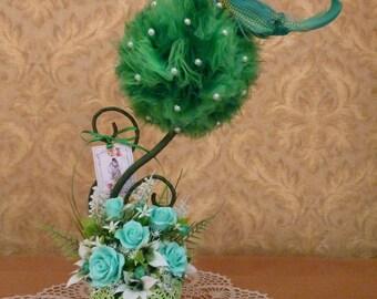 Gift for her,topiary,flower arrangement,bird,mint,emerald,good luck bird,wedding centerpice,bridal gift,tree centerpiece,green flowers