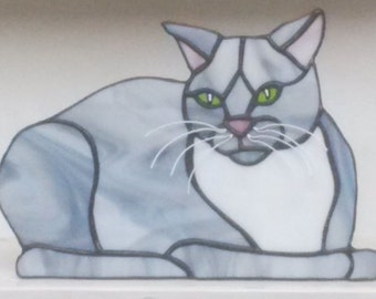 Stained glass Grey Cat