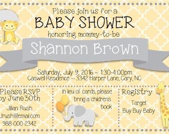 Jungle Animals Baby Shower Invitation
