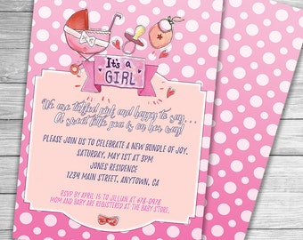 Customized Printable Baby Shower Invitation It's a girl Invitation