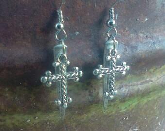 Fork tine cross earrings