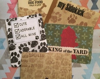 Set of 5 dog themed note cards
