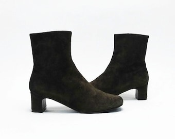 Vtg 90's Brown Suede Minimalist Ankle Boots US 7M
