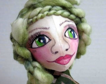 Forest Fairy Art Doll Bust OOAK, Cloth Art Doll Figure Head