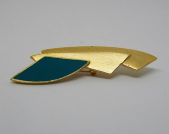 Vintage Color Block Gold and Blue Geometric Brooch Pin