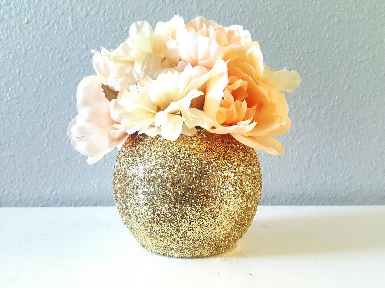 Round glitter vase glass centerpiece office supplies