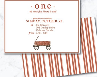 First Birthday Wagon Invitation | Customizable; Printable| Childrens Birthday