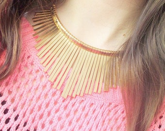 Many colors Pink gold or silver metal bib necklace