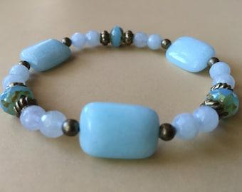 Aqua Bracelet, Beaded Gemstone Bracelet, Beaded Stretch Bracelet, Boho Bracelet, Stacking Bracelet, Gift for Her, Elastic Bracelet
