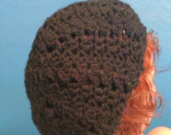 BLACK Crochet Slouchy (LACY) Beanie