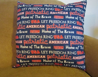 USA American Patriotic Cotton Blue Throw Pillow 18 x 18