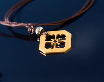 Gold handmade necklace. Japanese family crest. Mon, Kamon, Clan Crest, Sakura crest, Warrior Bushi, Samurai, Strength, Zen, Pendant
