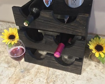 Wine Rack Ebony six bottle holder