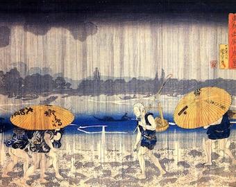 Heavy Rain Japanese Repro Print Picture By Utagawa Kuniyoshi A3 A4