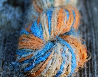 Recycled Sari Silk Yarn Hank - Orange, blue and neutral hues