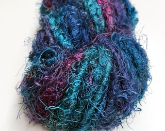 Recycled Sari Silk Yarn Hank - Teal, blue & purples