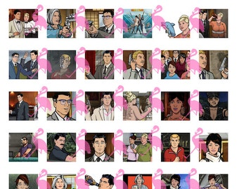 "Archer Digital 8.5x11"" Collage, 1"" Squares, 42 images"