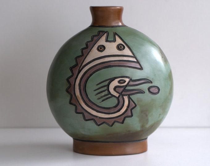 Hand painted  Peruvian vase