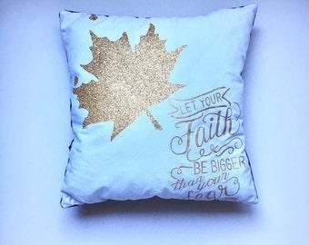 Handpainted pillow, decorative pillow, inspirational, faith quote, velour pillow, throw pillow