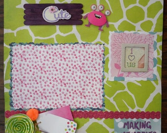 12x12 Premade Girly Monster Scrapbook page