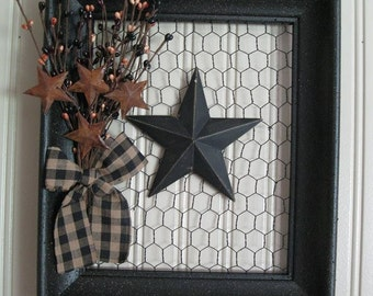 Chicken Wire and Wood Picture Frame with Pip Berry and Rusty Stars