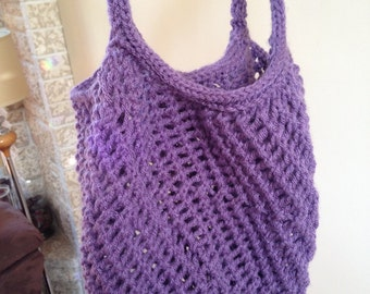 Knit Market Tote Bag, Hand Knitted, Many Colours