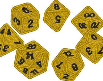 Dice Set D20, D12, D10, D8, D6, D4 Embroidery machine design PES