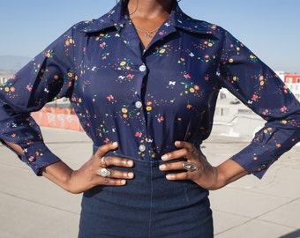 Authentic 1970s Navy Blue Button-Up Blouse With Mutlicolored Flowers