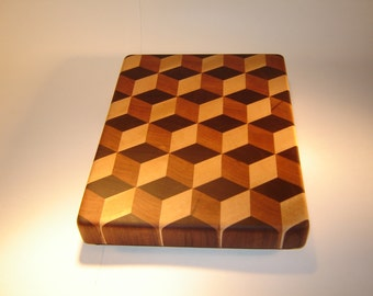 3-D End grain Wooden Cutting Board