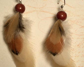 Rooster Feather Earrings, Rooster Saddle Feather Earrings, Short Feather Earring, Real Feather Earrings, Brown Feather, FeatherWearCreations