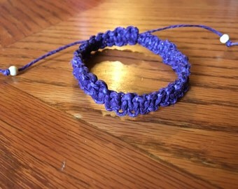 Purple hemp macrame bracelet