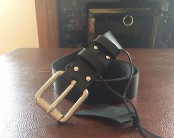 Black handmade belt with metallic buckle