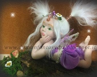 "OOAK fairy art doll baby hand sculpture ""Violet"""