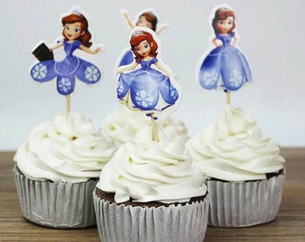 24 Sofia The First Princess Cupcake Toppers Picks Birthday Party