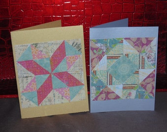 paper mosaic cards, quilt cards, set of 2 blank cards