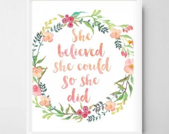 She believed she could so she did, Nursery print, Nursery wall art, Nursery quote, Nursery printable, Nursery decor, Nursery art, Girls room