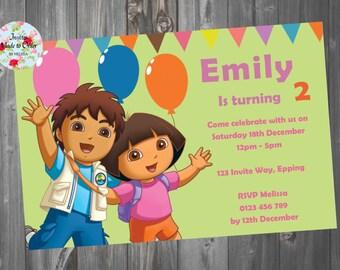 Dora the explorer and Diego Birthday Invitation