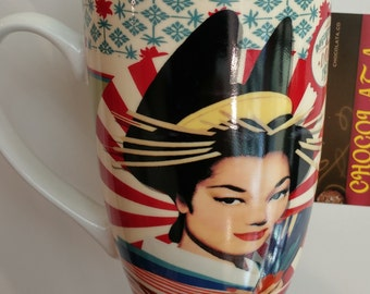 Cup / Mug for tea or coffee - vintage style Delicat the Japanese girl retro Zen