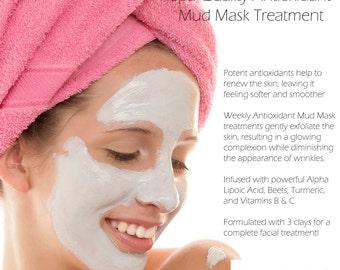 Antioxidant Facial Mud Mask Masque 1 Pound With Alpha Lipoic Acid - Vegan Paraben Free And Fragrance Free