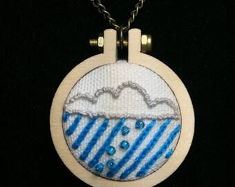 Rain Cloud Necklace- Handmade Embroidery