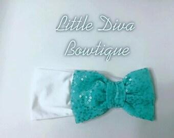 turquoise shiny bow
