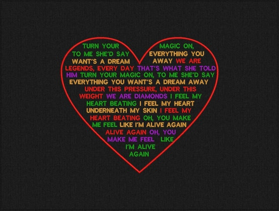 """ColdPlay lyrics """"Adventure of a Lifetime"""" in the Heart - Machine embroidery design - instant download"""