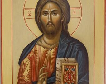 Christ icon Byzantine orthodox egg tempera Икона Христос Вседержитель яичная темпера Византийская Венчальная пара