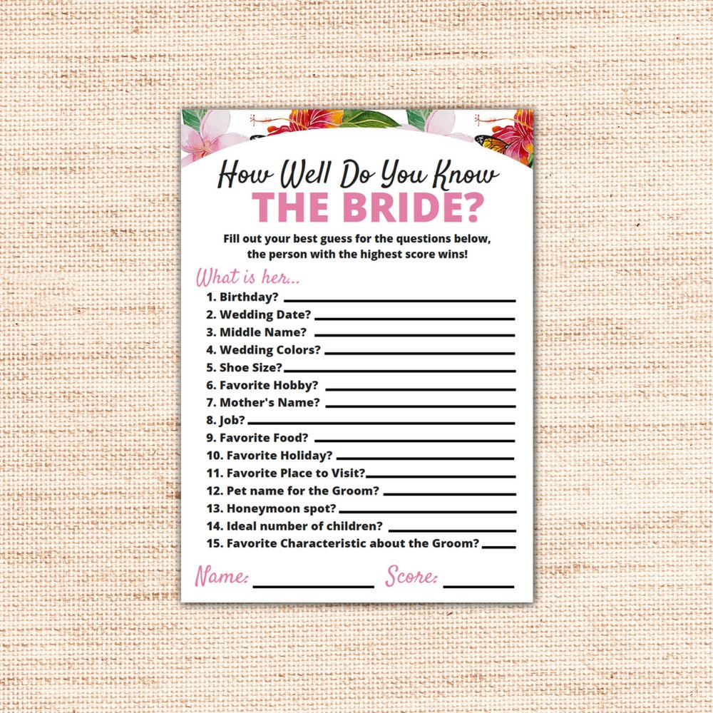 Tropical How Well Do You Know The Bride Trivia Printable