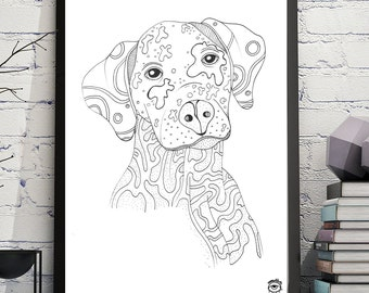 Dalmatian Dog A4 A5 illustration, print, art, dog print, dog drawing, dalmatian illustration, dalmatian drawing