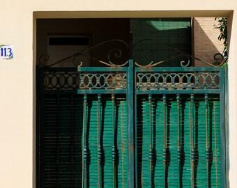 Mediterranean villa with green metal gate, Oliva, Valencia, Spain