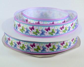 """7/8"""" Butterflies, Blue, Green and Purple Butterflies,  Printed Grosgrain Ribbon"""